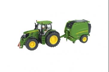 Tractor JD 6210R c/ rotoempacadora