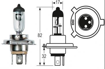 Paquete lámpara taller 12V/60/55W/H4